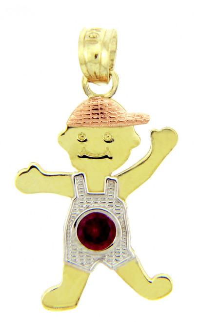 Tri Tone Gold Boy Birthstone Charm w/ CZ Ruby Garnet