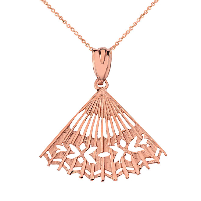 Solid Rose Gold Cut Out Folding Hand Fan Pendant Necklace