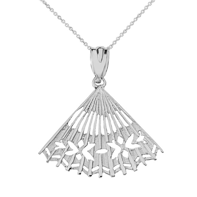 Solid White Gold Cut Out Folding Hand Fan Pendant Necklace