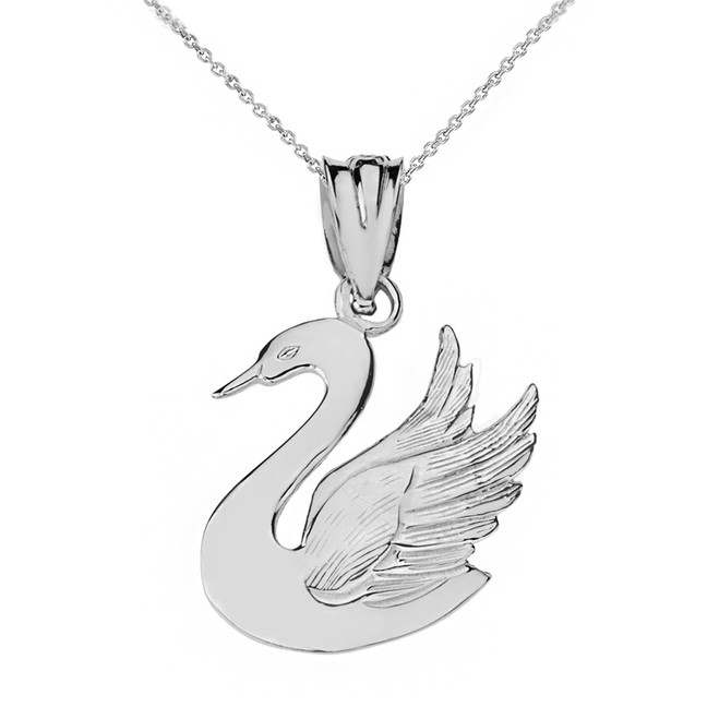 Solid White Gold Swan Pendant Necklace