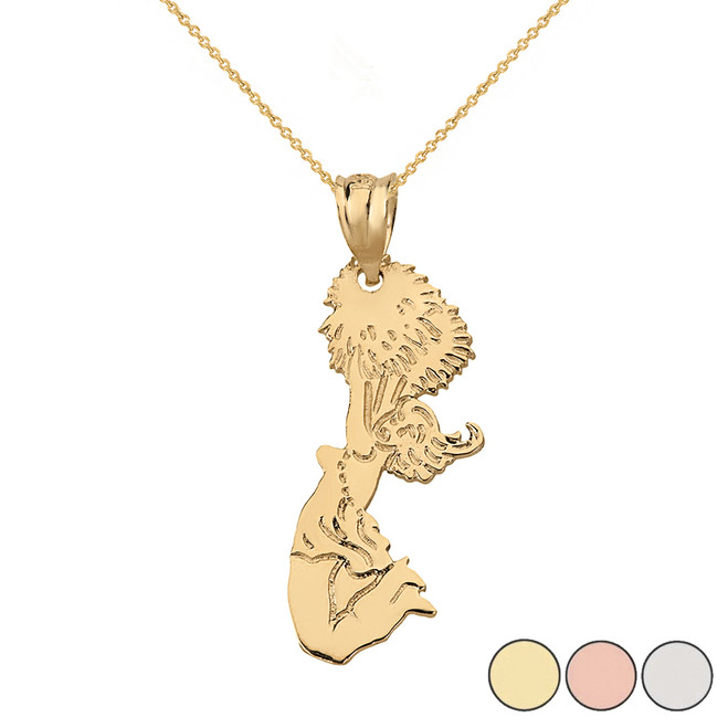 Team Spirit Cheerleader Pom Pom Pendant Necklace in Solid Gold (Yellow/Rose/White)