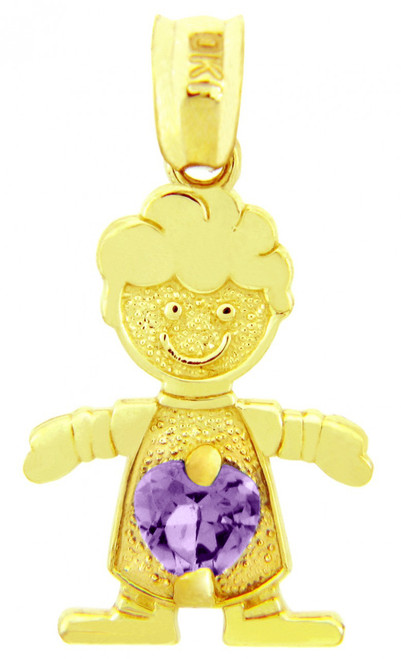 Yellow Gold Baby Boy CZ June Birthstone Heart Charm