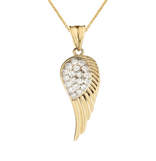 Elegant Yellow Gold  CZ Angel Wing  Pendant Necklace