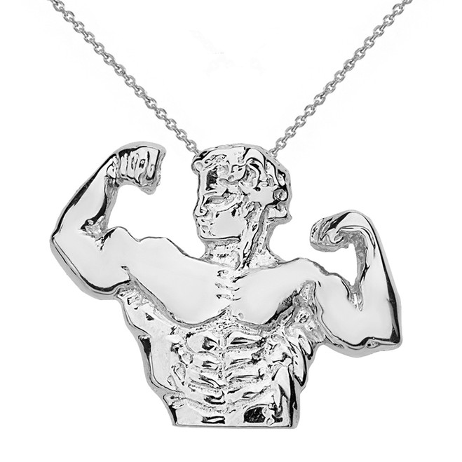 Solid White Gold Bodybuilding Muscle Man Pendant Necklace