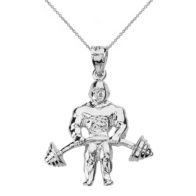 Solid White Gold Weightlifting Fitness Sport Bodybuilder and Barbell Pendant Necklace