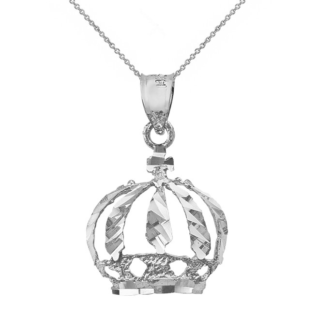 Solid White Gold Diamond Cut Christian Royal Crown Pendant Necklace