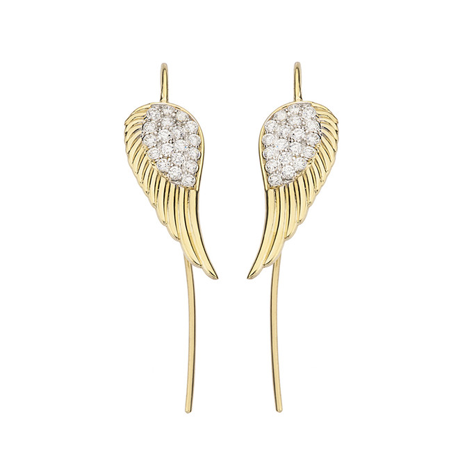 Yellow Gold CZ Threader Fish Hook Angel Wings Earrings