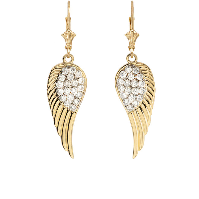 Yellow Gold CZ  Angel Wings Leverback Earrings