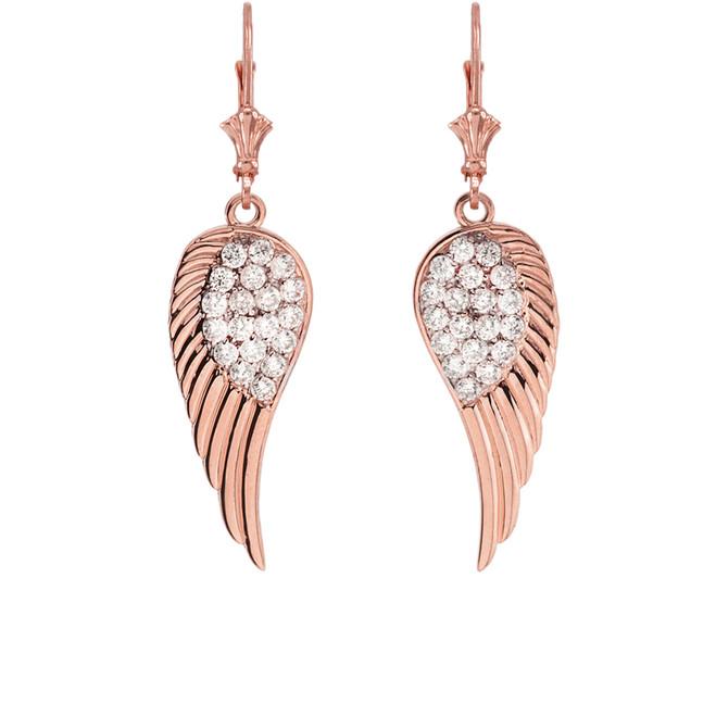 Rose Gold CZ  Angel Wings Leverback Earrings