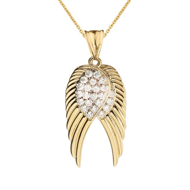 Two  Elegant Yellow Gold Diamond  Angel Wings  Pendant Necklace