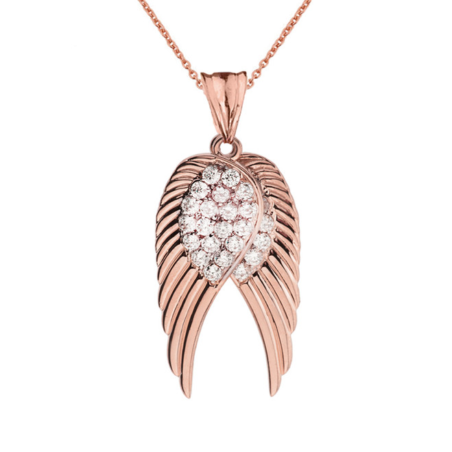 Two Elegant Rose Gold Diamond  Angel Wings  Pendant Necklace