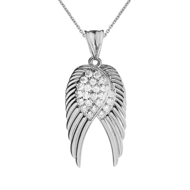 Two  Elegant White  Gold Diamond  Angel Wings  Pendant Necklace