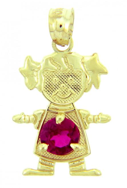 CZ Dark Pink Stone Girl Yellow Gold Birthstone Charm