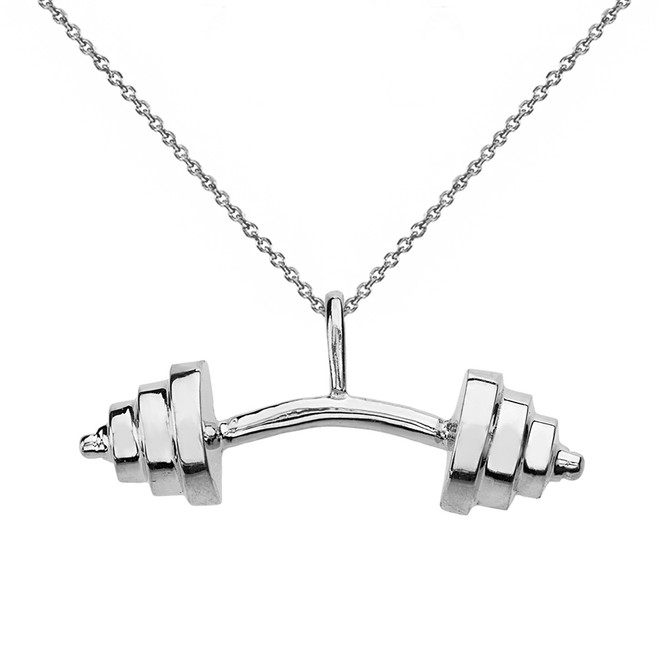 Solid White Gold Sports Fitness Curved Barbell Pendant Necklace