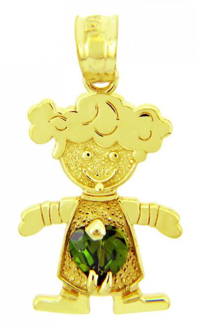 Girl CZ Emerald Green Heart Birthstone Charm