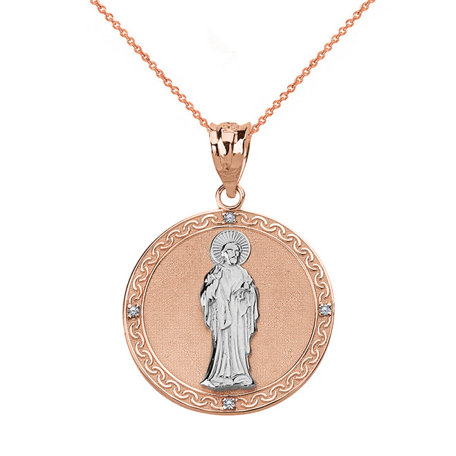 Solid Two Tone Rose Gold Diamond Saint Peter Engravable Circle Medallion Pendant Necklace (Small)