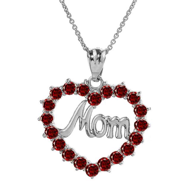 "Sterling Silver ""Mom"" Garnet (LCG)  Open Heart Pendant Necklace"