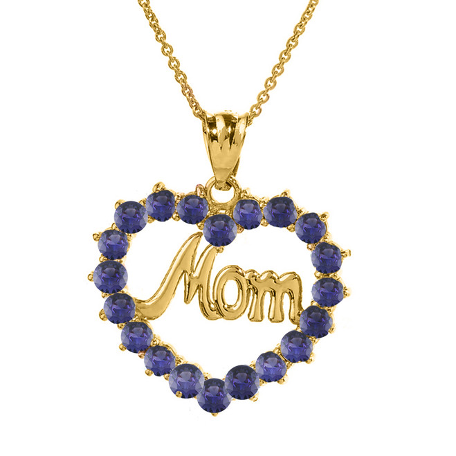 "Yellow Gold ""Mom"" Amethyst (LCAM) Open Heart Pendant Necklace"