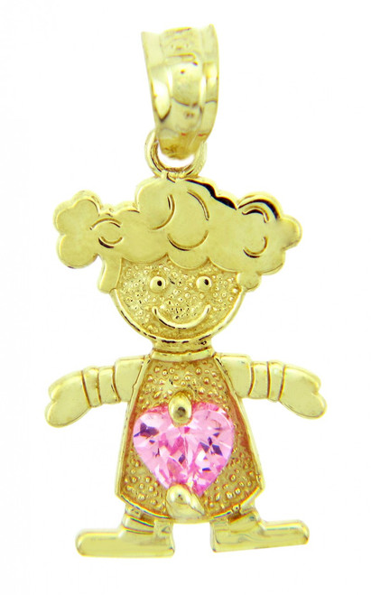 Girl CZ Pink Heart Birthstone Charm