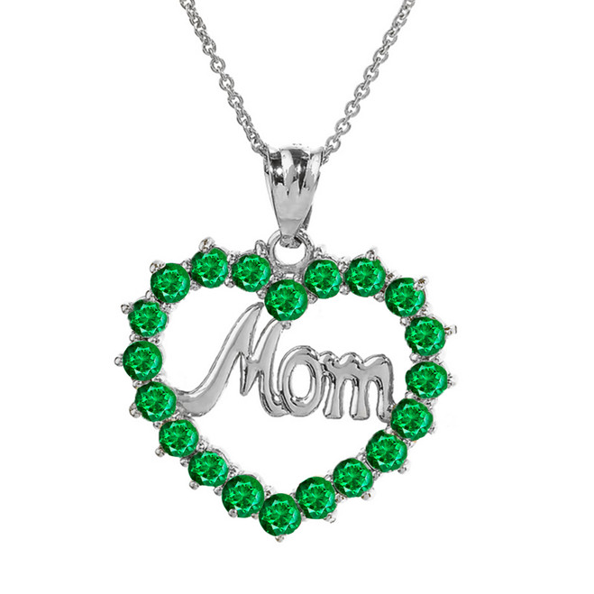"White Gold ""Mom"" Emerald (LCEM) in Open Heart Pendant Necklace"