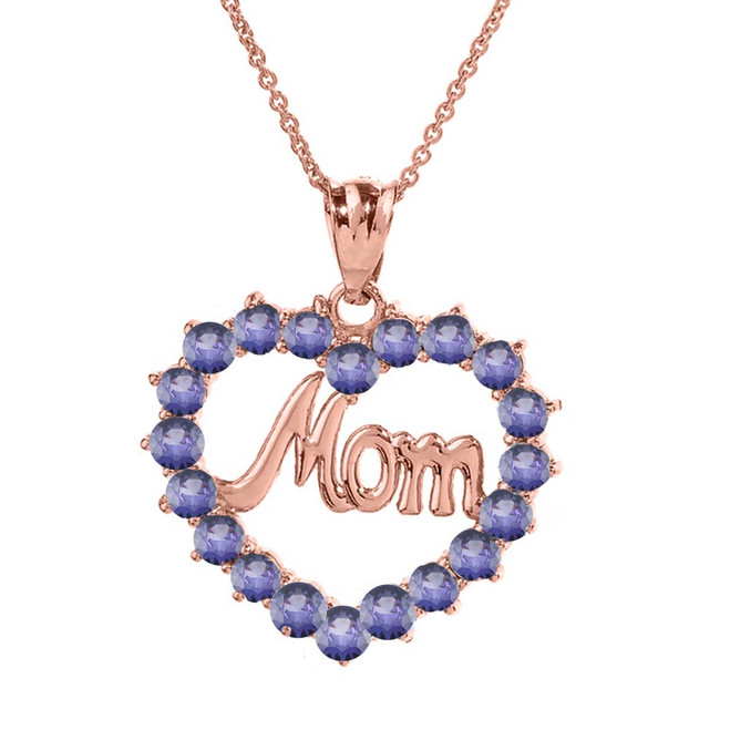 """Rose  Gold """"Mom"""" Alexandrite (LCAL) in Open Heart Pendant Necklace"""