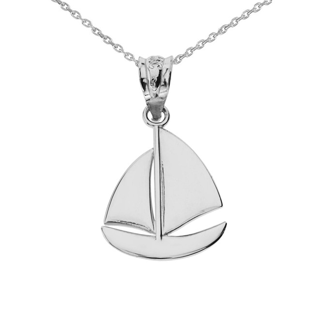 White Gold Sail Boat Pendant Necklace