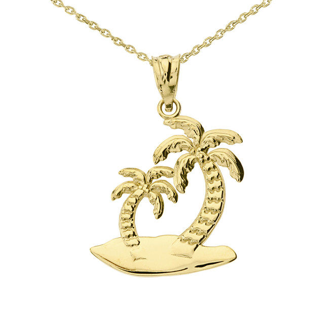 Yellow Gold Palm Tree Pendant Necklace