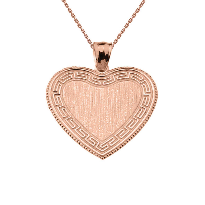 Greek Key Rose Gold Engravable Heart Pendant