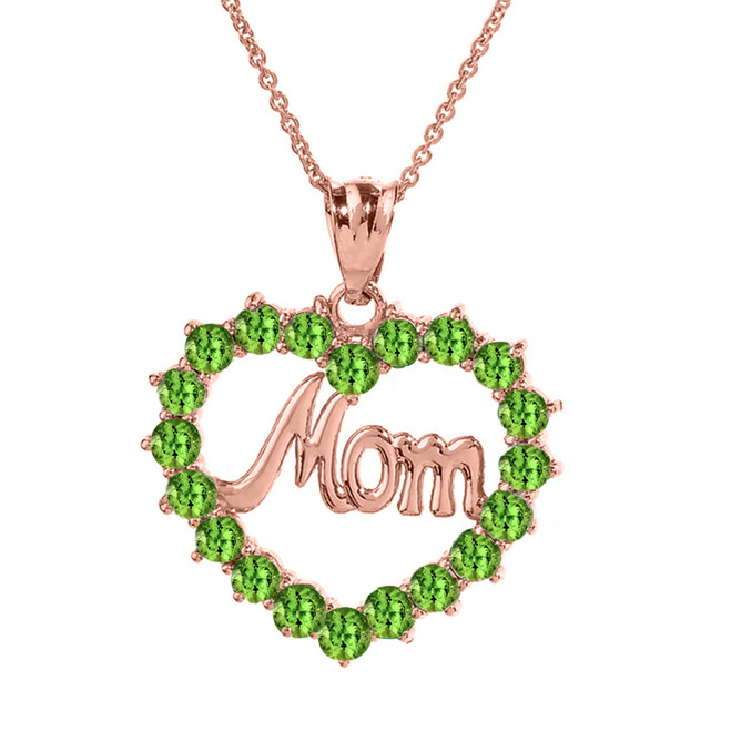 """Rose  Gold """"Mom"""" Peridot  (LCPE) in Open Heart Pendant Necklace"""