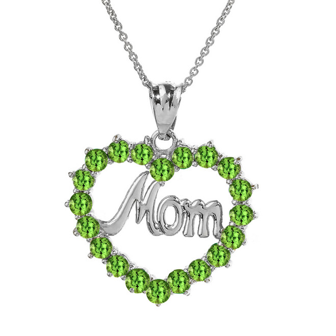 "White Gold ""Mom"" Peridot  (LCPE) in Open Heart Pendant Necklace"
