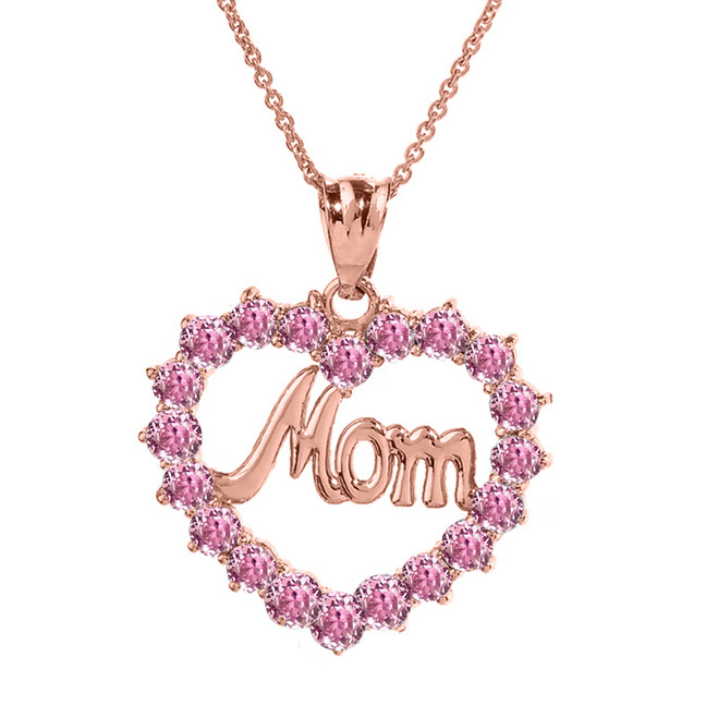 "Rose  Gold ""Mom"" Pink (LCP) in Open Heart Pendant Necklace"