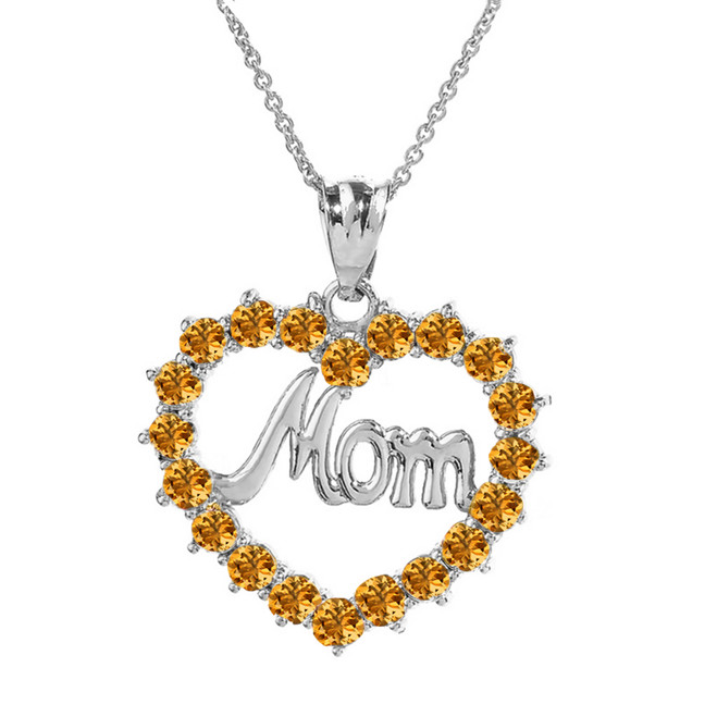 "White  Gold ""Mom"" Citrine (LCC) in Open Heart Pendant Necklace"