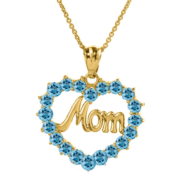 "Yellow Gold ""Mom"" Blue Topaz  (LCBT) in Open Heart Pendant Necklace"