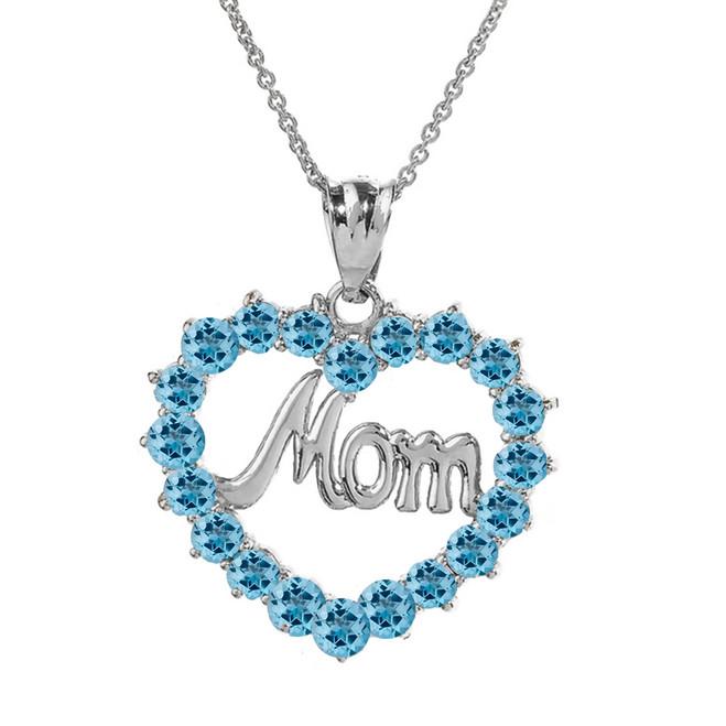 """White Gold """"Mom"""" Blue Topaz  (LCBT) in Open Heart Pendant Necklace"""