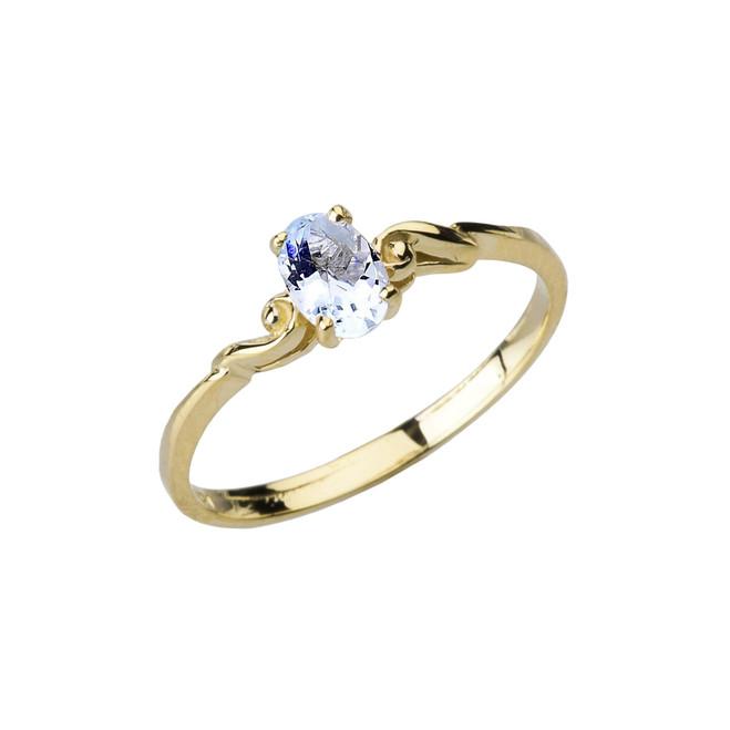 Dainty Yellow Gold Elegant Swirled Genuine Aquamarine Solitaire Ring