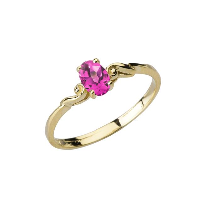 Dainty Yellow Gold Elegant Swirled Alexandrite (LCAL) Solitaire Ring