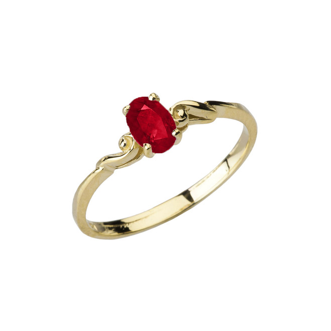 Dainty Yellow Gold Elegant Swirled Genuine Ruby Solitaire Ring