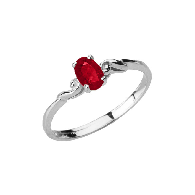 Dainty White Gold Elegant Swirled Genuine Ruby Solitaire Ring