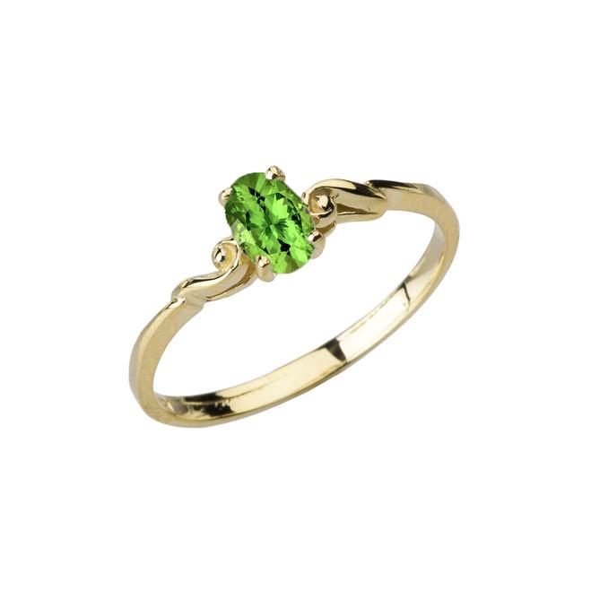 Dainty Yellow Gold Elegant Swirled Genuine Peridot Solitaire Ring
