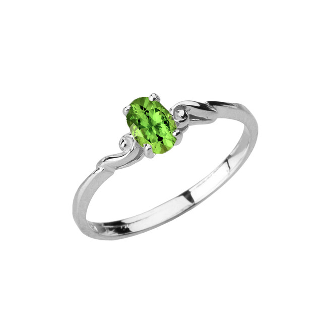Dainty White Gold Elegant Swirled Genuine Peridot Solitaire Ring