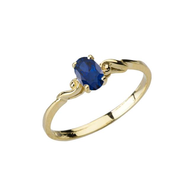 Dainty Yellow Gold Elegant Swirled Genuine Sapphire Solitaire Ring