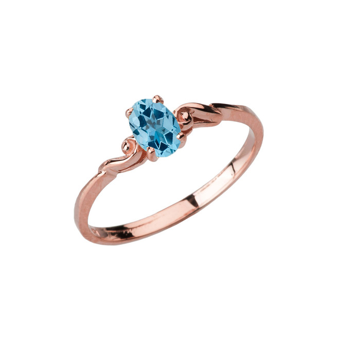 Dainty Rose Gold Elegant Swirled Genuine Blue Topaz Solitaire Ring