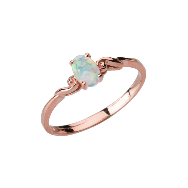 Dainty Rose Gold Elegant Swirled Opal Solitaire Ring