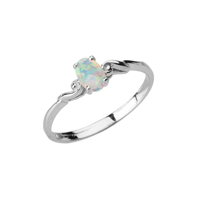 Dainty White Gold Elegant Swirled Opal Solitaire Ring