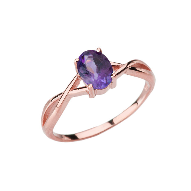 Dainty Rose Gold Infinity Design Amethyst (LCAM) Solitaire Ring