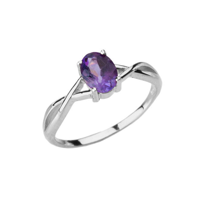 Dainty White Gold Infinity Design Amethyst (LCAM) Solitaire Ring
