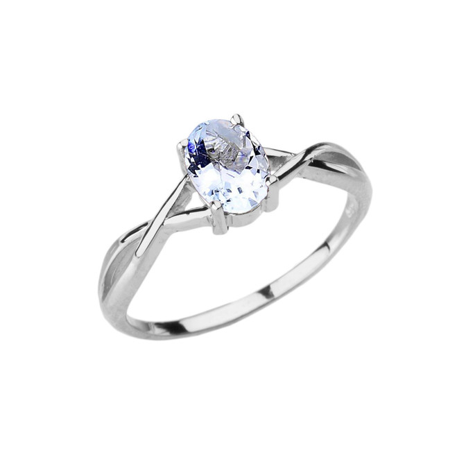 Dainty White Gold Infinity Design Aquamarine (LCAQ) Solitaire Ring