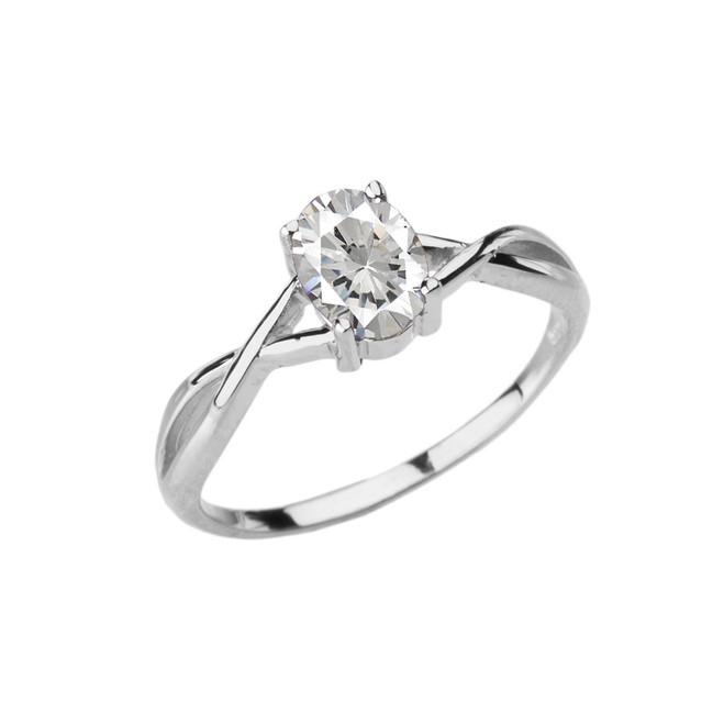 Dainty White Gold Infinity Design Cubic Zirconia (C.Z) Solitaire Ring