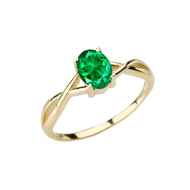 Dainty Yellow Gold Infinity Design Emerald (LCE) Solitaire Ring