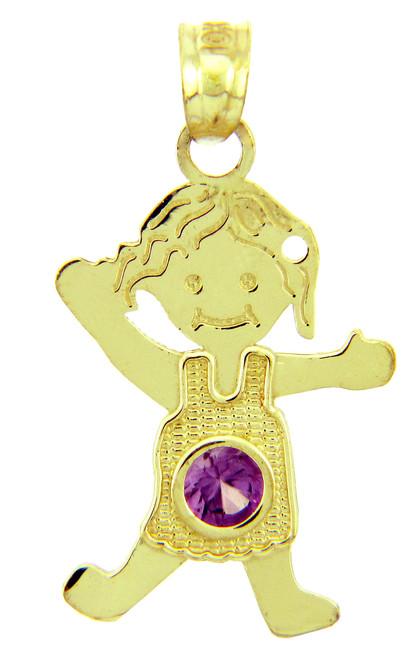 CZ Amethyst Girl Birthstone Charm